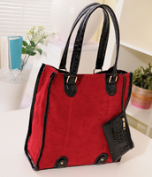 Korea fashion suede high capacity beautiful red women bags casual bag ladies handbag
