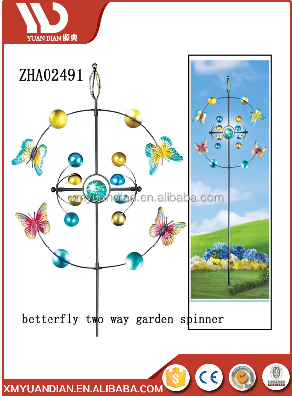 Outdoor decorative metal wind spinners garden stake ornament, Garden Windmill Stake