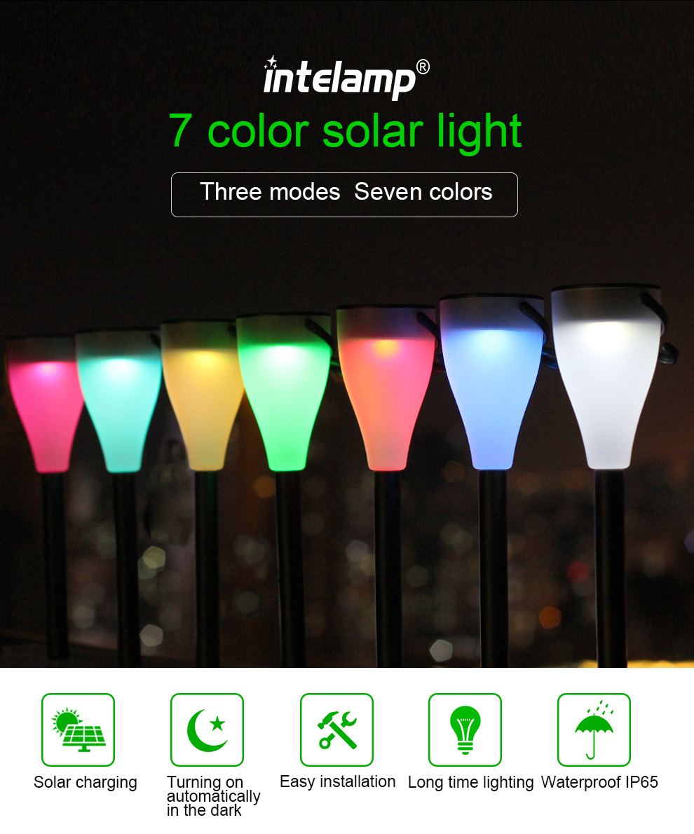Hot selling solar lamp 7 color Changing LED lawn light Solar Garden Light for decoration