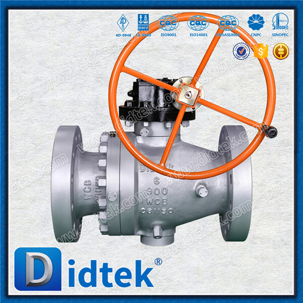 Didtek Gear Operated 6inch 900LB WCB Cast Steel Flange End Trunnnion Ball Valve with Block and Bleed Function