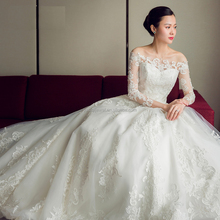 real picture A line women dress long sleeve ball gown alibaba wholesale wedding dress 2017