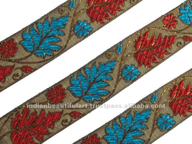 JACQUARD RIBBON TRIM BROWN PINK RED LEAF PATTERN