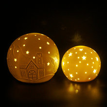 White porcelain LED ball with hollow design for christmas decoration