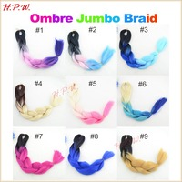 22-24inches 100grams Ombre two/three/four Tone Multi Coloured 100% High temperature chem Jumbo Braiding synthetic Hair extension