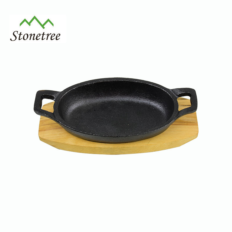 Pre-Seasoned Cast Iron Fry Pan With Wood Base