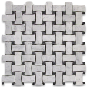 Hot sale carrara white dogbone marble tile mosaic with black dots