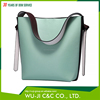 Top Grain Lady Leather Women's Color Block Hobo Leather Duffel Shoulder Bag