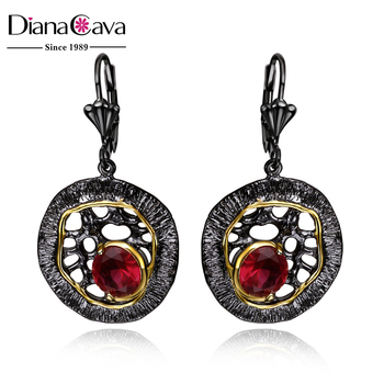 Best Buy Round Shape Siam Red CZ Crystal French Hook Dubai Black Gold Drop Earrings
