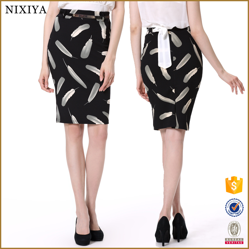 2015 women fashion pencil skirt / latest design lady slim fit casual knee length pencil skirt
