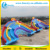 0.55mm PVC Tarpaulin Four Lane Inflatable Rainbow Water Slide For Water Park Games