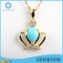 Attractive 925 sterling silver crystal pendant turquoise design