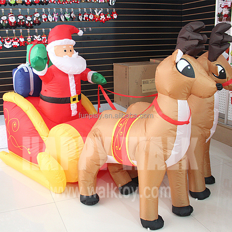 210cm advrtising inflatable christmas old man santa claus on christmas Elk sleigh