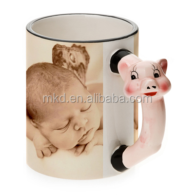 MEIKEDA 11OZ Sublimation Mug With Cute Pig Handle
