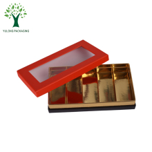 UAE Popular Shining Gold Paper Tray Grey Board Packaging Chocolate Truffles Box with Clear PVC Window