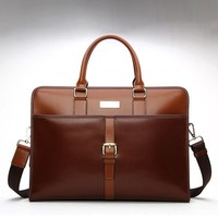 Genuine Leather Satchel Shoulder Messenger Bag Business Office Briefcase Vintage College University Laptop Bag