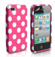 Hot Selling Polka Dots TPU Soft Silicone Cover For iPhone 4 Polka Dot Case