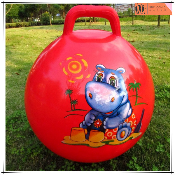 custom sticker red hopper bounce ball,custom design hopper ball with handle,OEM plastic ball toys China factory