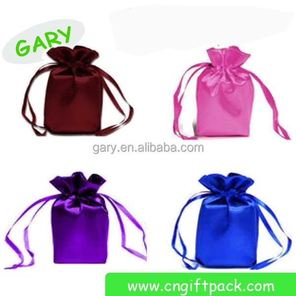 drawstring Satin Jewelry Pouch With Printed Ribbon