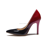 Fashion New Ombre Leather Heels! Catwalk Shoes Women! Two Toe Leather High Heel Shoes