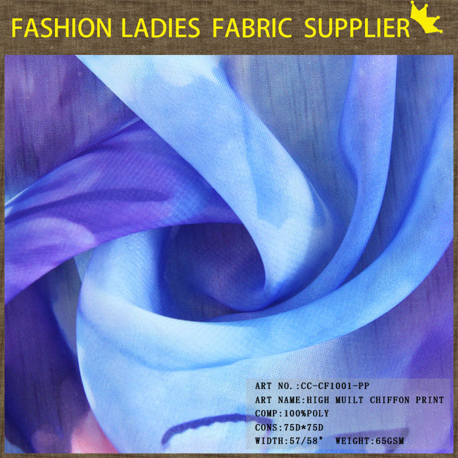 shaoxing textile High quality soft hand feeling dress fabric, 100D chiffon fabric, skating dress fabric