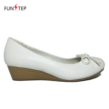 ladies women pump wedge shoes comfort mama bow tie slip on PU shoe