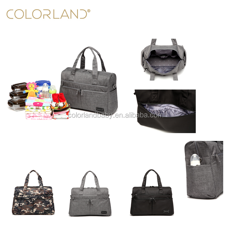 Multi-functional Diaper Bag Adjustable Shoulder Bag Tote Handbag with Changing mat and Insulated Pocket