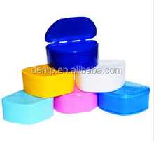 Colored plastic false teeth container / dental orthodontic retainer case / tooth storage box