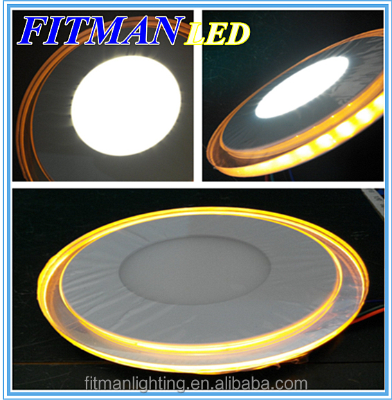 10W AC 85-265V Round LED Panel Light Acrylic Wall Ceiling Lamp Downlight Warm White With Yellow Light Border For Home Decoration