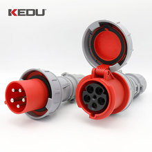 KEDU 32 amp 5 pin plug & coupler socket waterproof 3 phase 415V 3P+N+E 32A red