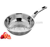 Kitchenware good Quality stainless steel colander / fruit basket with long handle