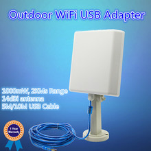 27dBm Outdoor Wireless networking Adapter with 14dBi Antenna, 5M/8M/10M USB Cable is avaliable, 150Mbps with range of 1KMs