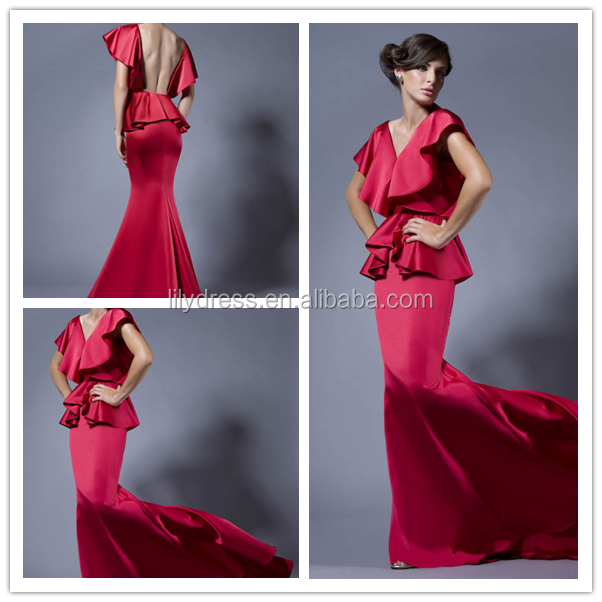 Red Satin Backless Floor Length Long Custom Made Design Evening Party Wear Robe De Soiree ED275 sexy prom dresses 2014
