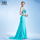 High quality square collar spaghetti strap design sexy sequins beading crystal long tail party wear mermaid evening dress