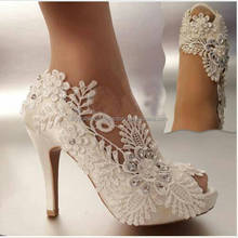 100% Real Hot Sale Open Toes Lace Pearls Women Ladies Plus Size High Heel 2017 Bridal Wedding Shoes EU34-42 MS1025