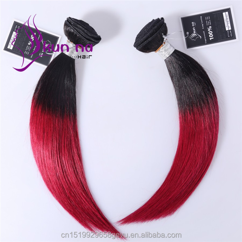 Cheap Brazilian Ombre color T1B/Burgundy Silky Straight human hair weave Bundles