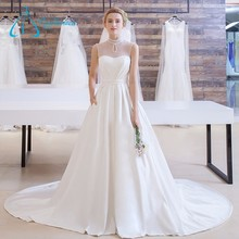 Custom Made Chapel Train Tulle Satin Beaded Sex Wedding Dress