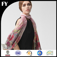 Wholesale China factory custom digital printed silk chiffon scarf pashmina