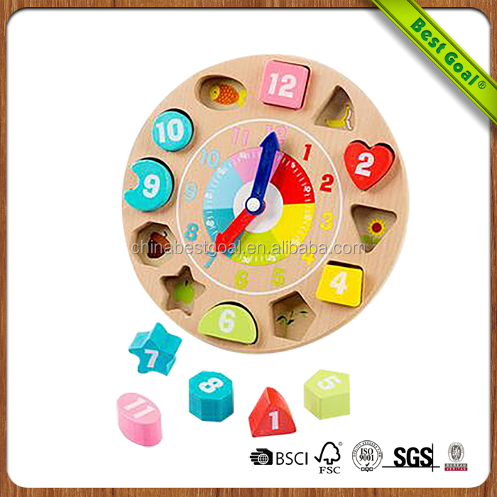 Digital animals blocks clock children's educational Wooden toys