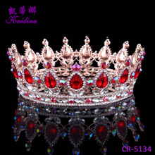 WQ Wholesale Real Gemstone Gold Crowns Jewelry Tiara Princess Rhinestone Crowns