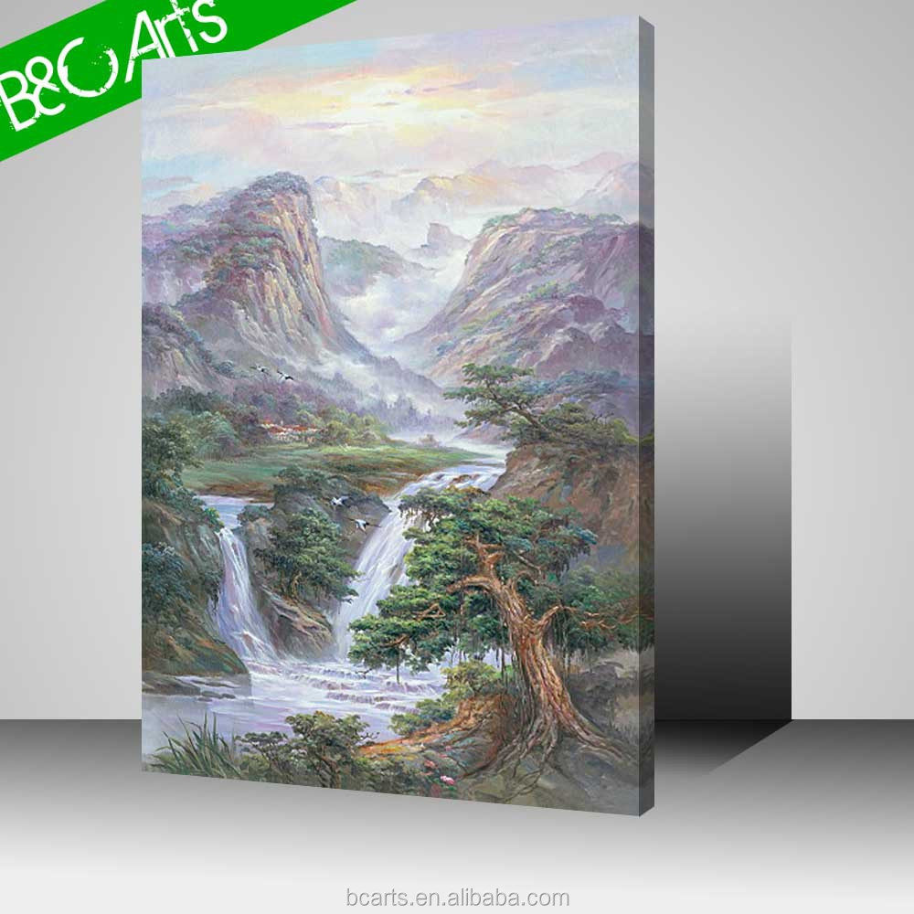 Good landscape decor waterfall canvas print mountain oil painting