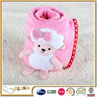 High quality new design baby cuddle bear blanke toy flannel baby blanket pattern