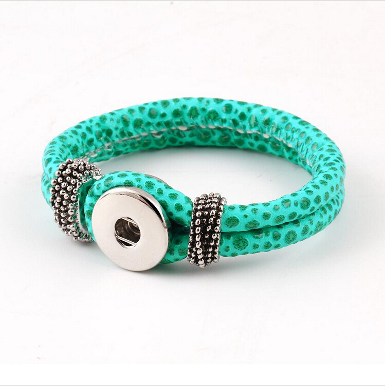Street Punk Style Plant Green Leather Bracelets Snaps Removable Variety Buttons Accessories Animal Bracelet For Unisex