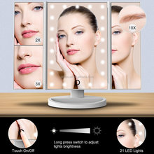 Tri Fold Makeup Vanity Mirror with 21 adjustable LED Lights, 3x/2x Magnification, Touch Screen and Dual Power Supply