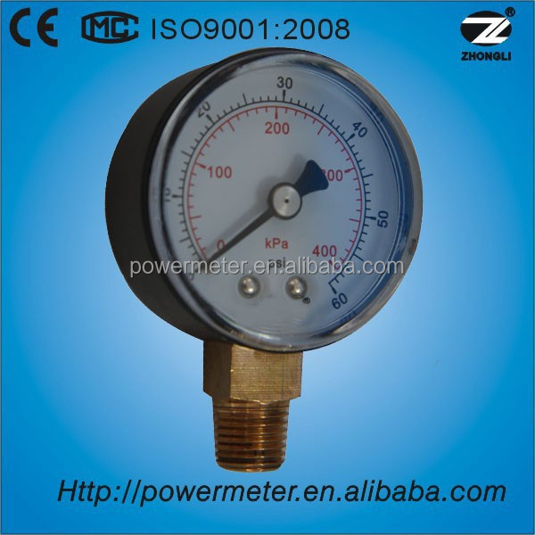 Y50A-50mm bourdon tube pressure gauge/ plastic case and glass