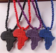 Popular Africa Map Pendant Necklace Hip Hop Style Wood Necklace Wholesale