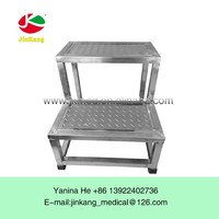 Stainless steel medical hospital double folding step stool