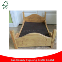 DOG BED w MATTRESS and Engraved Amish Handmade Oak Wood Small Pet Bed