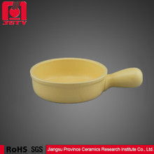 stock heat resistant cookware with signal handle yellow cheap cheese milk ceramic pot