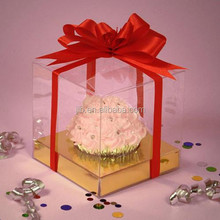 Customized clear beautiful pvc mini cupcake box for wedding gift