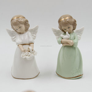 Colorful Porcelain Antique Angel Statue Angel Figurine